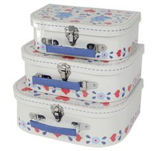 Set of 3 Owl Suitcases. Folk Heart Owl. By Sass & Belle. Storage boxes.Brand New | eBay Visit...The Ginger Sheep £14.99