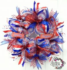 Deco Mesh Summer Patriotic Wreath