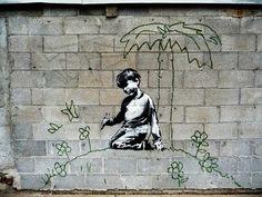 Banksy stencil in the Cass Corridor, Detroit, Michigan.  Photo by Rebecca L. Solano 2010
