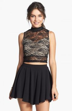 Soprano Mock Neck Lace Crop Top Juniors 006 Black | Clothing
