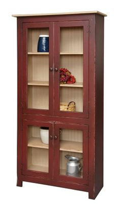 Primitive Curio Cabinet Hutch Pantry Bookcase Country Kitchen Cottage Furniture