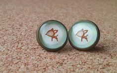 Hert oorbellen bronzen oorbellen klein cadeau glas door NiteOwl15