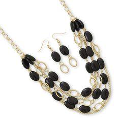 DivaByDzine - Black Bead Statement Necklace Set, $15.99 (http://www.divabydzine.com/black-bead-statement-necklace-set/)
