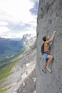 this gives me a weird feeling in my feet! Dean Potter soloing the Eiger