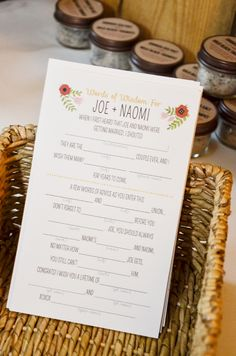 Our Wedding Mad Libs! So fun to read all of these from the guests and much more fun than a traditional guest book. ;)