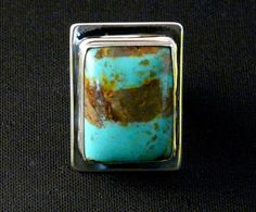 Patagonia Turquoise and Sterling Silver Ring with Adjustable Sterling Band
