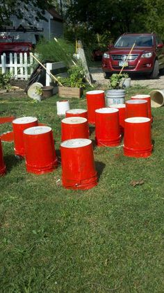 yard beer pong- red solo cup, I fill you up (5 gal. buckets painted red)