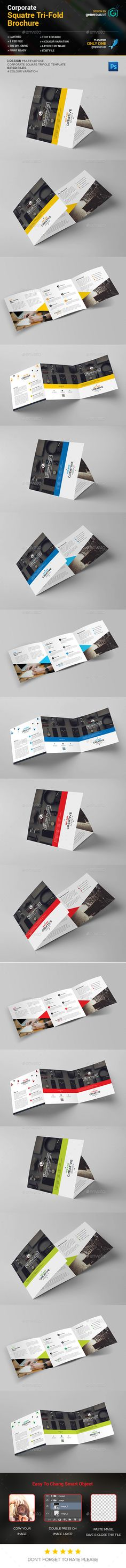 Square TriFold Brochure — Photoshop PSD #green #modern design • Available here → https://graphicriver.net/item/square-trifold-brochure/13957622?ref=pxcr