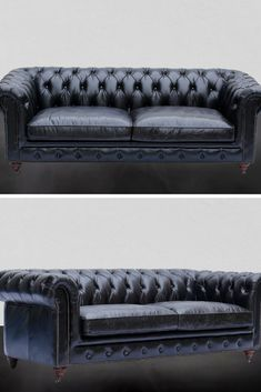 Chesterfield 2-Seater Leather Sofa Black Our Greyson leather Chesterfield collection is hand crafted by skilled artisans with genuine imported Brazilian top grain leather.  The frame is built from solid eucalyptus wood and the legs are crafted from solid pine wood.  The cushioning does not need to be periodically re-fluffed since it is a 50% blend of duck feather and foam specially designed for comfort and practicality Chesterfield Sofas, Leather Chesterfield, Black Leather Sofas, Solid Pine, Love Seat, Living Spaces, Feather, Couch, Legs