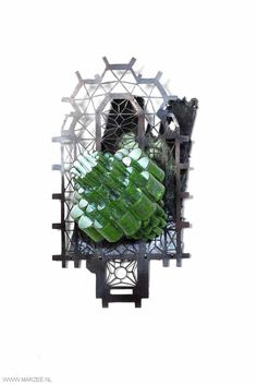 Vera Siemund, brooch, 2013, Brooch, enamelled copper, steel - mounted, enamelled, sawn75 x 125 x 60 mm - floral lamp shade with a green/white enamel cover, mounted on a floor plan sawn in steel, a silhouette of a cathedral as background