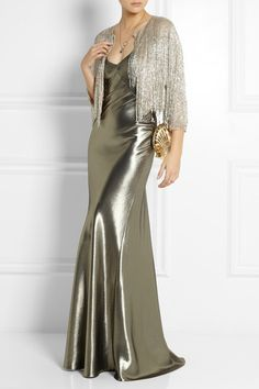 Beautiful finish, but too clingy.  Kate Moss for TopshopFluted silk-blend lamé maxi dress