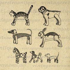 Printable Antique Animal Toys Graphic Image Dog Cat Rabbit Animals Digital Download Artwork Vintage Clip Art Jpg Png 18x18 HQ 300dpi No.1734 @ vintageretroantique.etsy.com