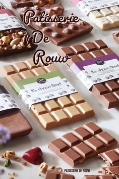 Dutch pastry shop De Rouw has stunning looking Chocolate bars packaging gift ide. Chocolate Stores, Chocolate Art, Choccywoccydoodah, Pastry Shop, Chocolate Covered Strawberries, Delicious Chocolate, Truffles, Dutch, Sweets