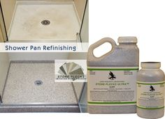 Shower pans can be refinished with Stone-Flecks Ultra. Long lasting product, easy formula to use. http://www.hawklabs.com/stone-flecks-ultra-paint.html