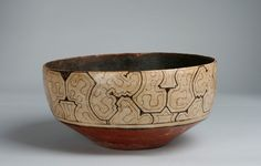 RARE EARLY SHIPIBO AMAZON POTTERY BOWL-OLLA / TRIBALLY USED - PERU CIRCA 1920