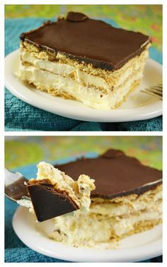 This Eclair Cake recipe is an old fashioned icebox cake with layers of graham crackers, pudding, and chocolate frosting. An easy no bake dessert recipe! No Bake Eclair Cake, Eclair Cake Recipes, No Bake Cake, Dessert Simple, Chocolate Eclair Dessert, Easy Desserts, Dessert Recipes, French Desserts, Nutella