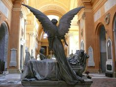 Monument Bisteghi by Enrico Barberi. Located in the Monumental Cemetery of Certosa di Bologna, Bologna, Italy Cemetery Angels, Cemetery Statues, Cemetery Art, Statue Ange, La Danse Macabre, Angeles, I Believe In Angels, Ange Demon, Angels In Heaven