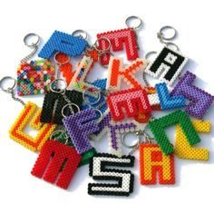 Letter keyrings perler beads by plybeads