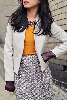 patterned skirt, vibrant shirt.