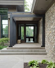 Inspired by nature: Impressive contemporary rustic home in Indiana – rustic home exterior Rustic Houses Exterior, Exterior Stairs, Craftsman Exterior, Modern Farmhouse Exterior, Modern Porch, Exterior Signage, Stucco Exterior, Modern Landscape Design, Modern House Design