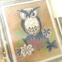 Vintage Avon 1970s Owl Needlepoint Stitchery Kit $10 + shipping - woodland embroidery vintage cuteness