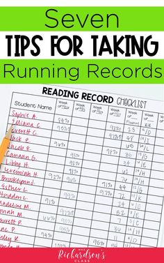 7 Tips for Running Records - Mrs. Richardson's Class - Are you using running records to assess students during guided reading? Or are you ready to start? Guided Reading Lessons, Guided Reading Groups, Guided Reading Binder, Guided Reading Activities, Reading Strategies, Reading Assessment, Reading Intervention, Kindergarten Reading, Teaching Reading