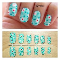 red and light blue nail designs | White and red dotted flowers on light blue base nail art design