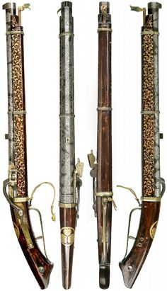 Japanese matchlock pistol (bajou-zutsu), circa 1850, for use on horse back, .5 in bore iron barrel decorated in silver and gold nuome (overlay) with a design of dragons and clouds, triangular fore sight and a grooved block to the rear, oak stock lacquered brown with gold lacquered karakusa (Chinese grass) on each side. Beside the breech is a gold lacquered hollyhock leaf mon (badge) of the Tokugawa or Matsudara families, brass fittings with an iron serpentine. Unsigned Kunitomo school, 26.5…
