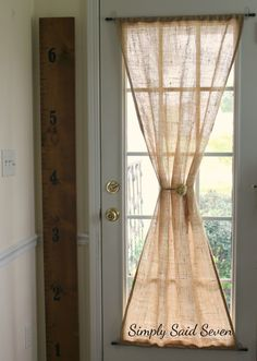 Sewing Curtains DIY Guide to make burlap door curtain - Step by Step guide to a DIY Burlap Curtain for your glass door using heat and bond or sewing techniques. Use this guide to create farmhouse charm. Glass Door Curtains, Patio Door Curtains, French Door Curtains, No Sew Curtains, Burlap Curtains, Cafe Curtains, Kitchen Curtains, Curtains For Doors, Curtains For Dining Room