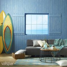 Give your living room a fresh feeling with the balance of frosted glass accents and a crisp blue tropical touch. Valspar Colors, Valspar Paint, 2015 Color Trends, Tropical Colors, Coastal Decor, Interior And Exterior, Paint Colors, Home Improvement, Beach House
