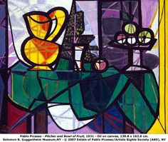 """Pablo Picasso. """"Pitcher and a bowl of Fruit"""""""