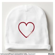 Love yourself heart minimalistic baby beanie