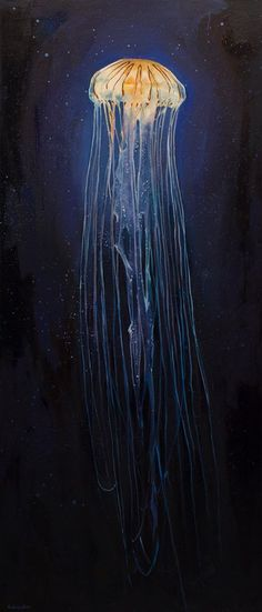 """""""The light jellyfish"""" by Oleksii Gnievyshev 140 x 60 cm. Oil On Canvas 2017 Rodin, Jellyfish Painting, Jellyfish Drawing, Four Seasons Art, Original Art, Original Paintings, Classical Realism, Coffee Painting, Easy Paintings"""