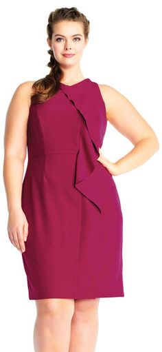 Adrianna Papell | Sleeveless Sheath Dress with Corkscrew Ruffle Accent