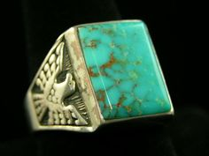 Turquoise thunderbird ring - a vintage ring. Turquoise is my birthstone. I like the symbolic meaning of the thunderbird. Mens Turquoise Rings, Vintage Turquoise, Turquoise Jewelry, Silver Jewelry, Stone Jewelry, Jewelry Rings, Jewlery, Mens Ring Designs, Native American Rings