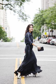 Etoile Isabel Marant plaid blouse, Peter Soronen skirt, Chanel purse, MR. Dannijo necklace, bracelets.