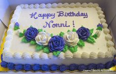 Purple & White Roses Birthday Cake - 1/4 sheet Chocolate Cake. Butter cream frosting and Roses.