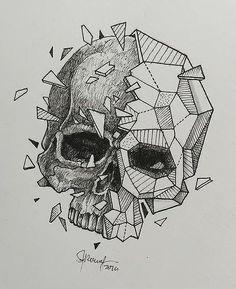 Эскиз тату с геометрическим черепом