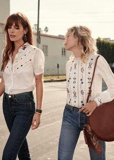 Sézane - embroidered blouse and denim Moda Boho, Bohemian Tops, Bohemian Style, Summer Outfits, Casual Outfits, Cute Outfits, Look Fashion, Fashion Outfits, Womens Fashion