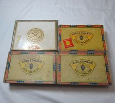 1950s & 1960s Vintage Set of 4 Cigar Boxes, La Corona, King Edward 7th, Cardboard, Men's Trinket Box, Smoking Ephemera, Vintage Cigar Box by VictorianWardrobe on Etsy