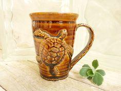 Handmade Coffee Cup Brown Sea Turtle Stoneware Pottery One-of-a-Kind Nature. 27.50, via Etsy. http://www.etsy.com/treasury/MTkwMjc2ODJ8MjcyMjkwNDg4MA/summer-guys-and-summer-dolls?ref=pr_treasury