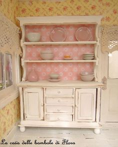 Shabby large kitchen dresser - 1/12 dolls house dollhouse miniature. $40.00, via Etsy.