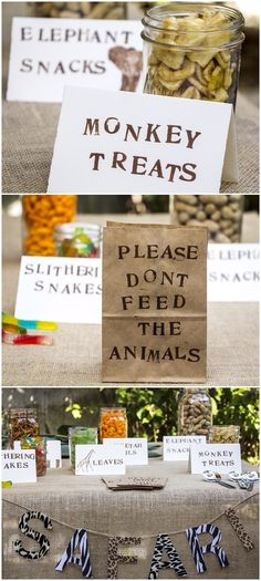 Put together an easy hand crafted snack bar for a safari themed party!