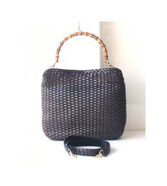 Gucci Bag Brown Leather Woven Bamboo vintage authentic tote shoulder handbag  purse 2f382c2cd0e10