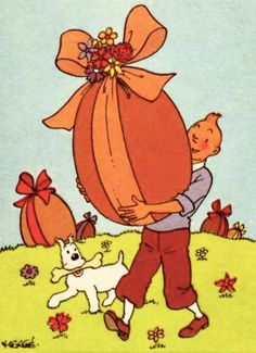 Hergé, Tintin, HAPPY EASTER ! // okay i know easter was a while ago BUT LOOK. HOW CUTE. THIS IS.