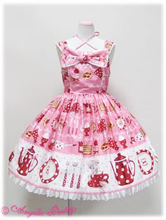 Angelic Pretty - French Cafe Chest Ribbon JSK - Pink