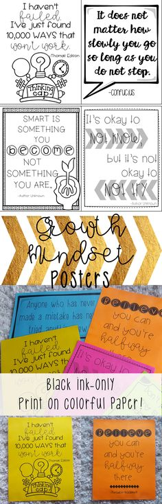 Black-ink growth mindset posters for classroom decor! Perfect quotes for a bulletin board, good for elementary or middle school students!