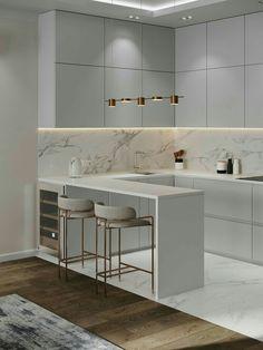 Apartment in Moscow on Behance Luxury Kitchen Design, Kitchen Room Design, Home Room Design, Kitchen Cabinet Design, Home Decor Kitchen, Interior Design Kitchen, Modern Interior Design, Modern Decor, Kitchen Modern