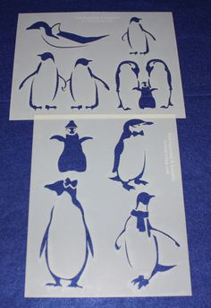 Penguin Stencils Mylar 2 Pieces of 14 Mil X - Painting /Crafts/ Templates - deal beauty Quilting Stencils, Quilting Templates, Stencil Painting, Stenciling, Star Flower, Scroll Saw Patterns, Coloring Sheets, Penguins, Quilts