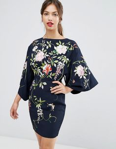 Embroidered Kimono Sleeve Mini Dress made of textured woven viscose with oriental floral emroidery on navy bacground ASOS AW16